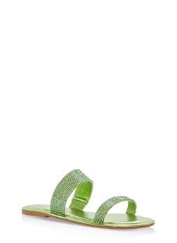 Double Band Rhinestone Slide Sandals - GREEN MWP - 1112004062532