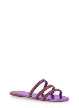 Triple Rhinestone Strap Slide Sandals - 1112004062540