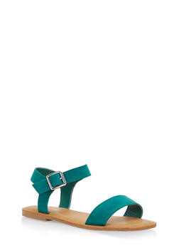 Ankle Strap Flat Sandals - GREEN - 1112004062541