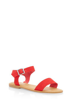 Ankle Strap Flat Sandals - RED - 1112004062541
