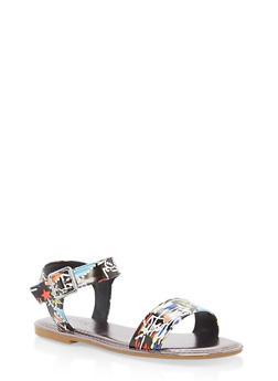 Ankle Strap Flat Sandals - BLACK MULTI - 1112004062541