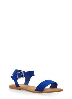 Ankle Strap Flat Sandals - COBALT S - 1112004062541
