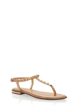 Studded Thong Sandals - ROSE GOLD FABRIC - 1112004062593