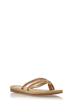 Beaded Cross Strap Thong Sandals - 1112004062841