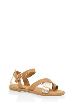 Strappy Toe Ring Sandals - TAN MULTI - 1112004063283