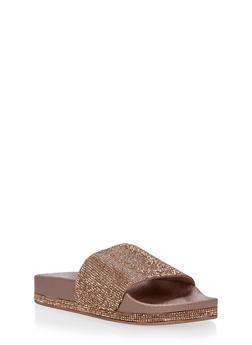 Rhinestone Slide Sandals - RG - 1112004063299