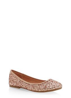 Round Toe Skimmer Flats - ROSE GOLD GLITTER - 1112004063627