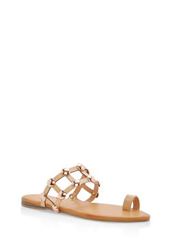 Studded Caged Toe Ring Slide Sandals - 1112004064280