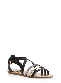Criss Cross Strap Sandals - BLACK MULTI - 1112004064347