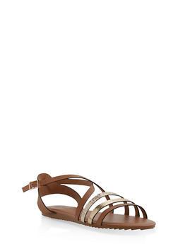 Criss Cross Strap Sandals - TAN MULTI - 1112004064347