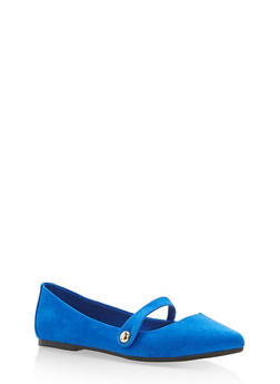 Pointed Toe Ballerina Flats with Strap - BLUE F/S - 1112004064667