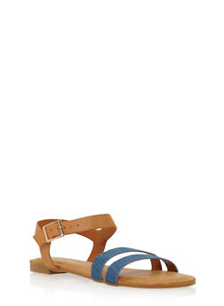 Flat Sandals with Double Toe Straps - 1112004064680