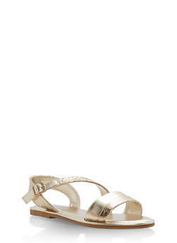 Asymmetrical Shimmer Strap Sandals - GOLD CMF - 1112004066139