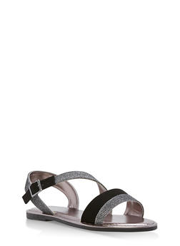Asymmetrical Shimmer Strap Sandals - 1112004066139