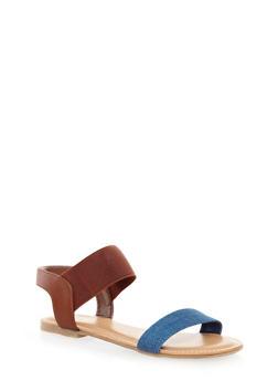 Double Strap Slingback Sandals,BLUE DENIM,medium