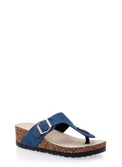 Wedge Slide Sandals with Thong Toe - 1112004066263