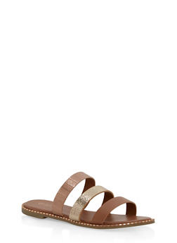 Metallic Textured Slide Sandals - TAN MULTI - 1112004066500