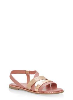 Textured Strap Studded Flat Sandals - BLUSH - 1112004066501