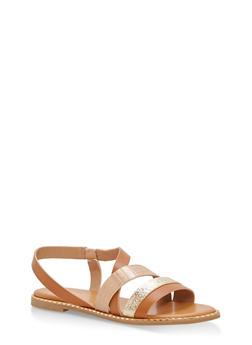 Textured Straps Studded Flat Sandals - TAN MULTI - 1112004066501