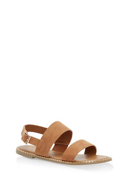 Studded Sole Double Strap Sandals - TAN F/S - 1112004066502