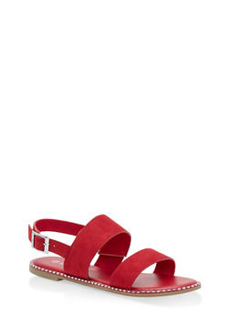 Studded Sole Double Strap Sandals - RED F/S - 1112004066502