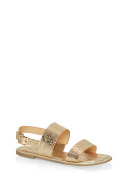 Studded Sole Double Strap Sandals - GOLD CMF - 1112004066502
