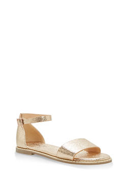 Metallic Trim Ankle Strap Sandals - GOLD CMF - 1112004066503