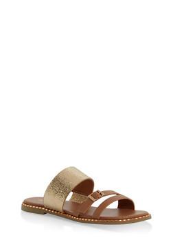 Triple Strap Metallic Detail Slide Sandals - TAN - 1112004066504