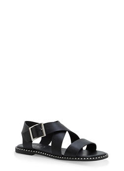 Studded Sole Cross Strap Sandals - BLACK BNH - 1112004066508