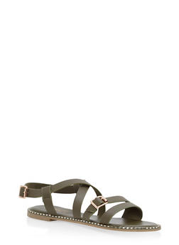 Criss Cross Ankle Strap Sandals - OLIVE - 1112004066509
