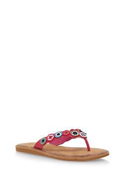 Beaded Thong Slide Sandals - 1112004067233