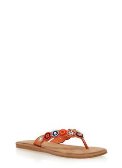 Beaded Thong Slide Sandals - 1112004067233