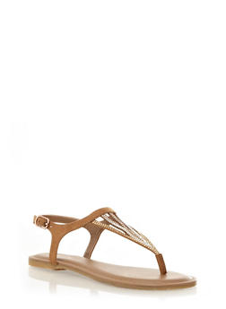 Rhinestoned Thong Sandals,NATURAL,medium