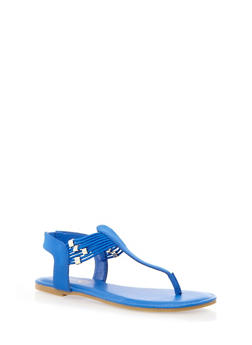 Corded T-Strap Sandals with Rhinestone Accents,BLUE,medium