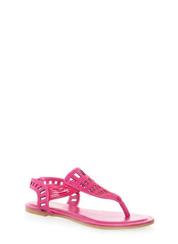 Studded Rhinestone Cage Thong Sandals With Strappy Sides - 1112004067291