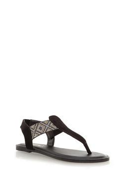T-Strap Thong Sandals with Metallic Tribal Embellishment,BLACK,medium