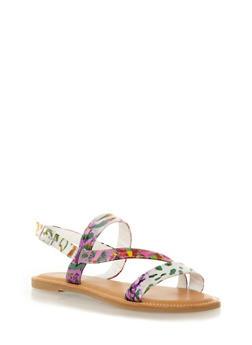 Strappy Slingback Sandals with Open Toe,PURPLE MULTI,medium