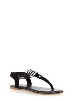 Thong T-Strap Flat Sandals - 1112004067679