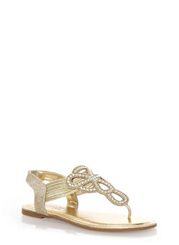 Sparkly Decorative Gladiator Sandals with Corded Thong Design,GOLD,medium