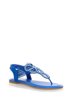 Sparkly Decorative Thong Sandals with Corded Design - 1112004067681