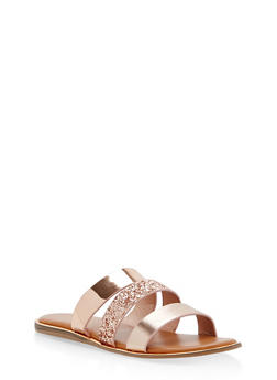 Triple Strap Sandals with Metallic Trim - 1112004067849