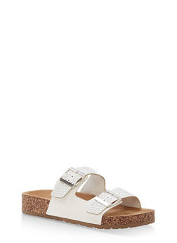 Studded Double Strap Footbed Sandals - WHITE NUBUCK - 1112004067860