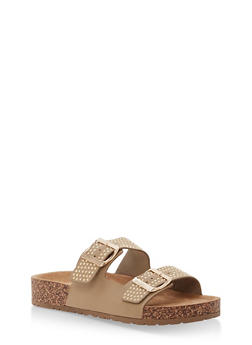 Studded Double Strap Footbed Sandals - TAN NUBUCK - 1112004067860