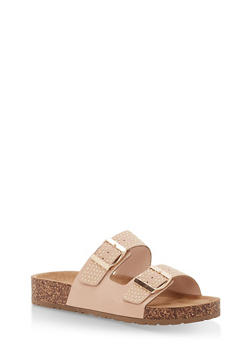 Studded Double Strap Footbed Sandals - BLUSH NUBUCK - 1112004067860