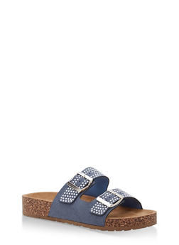 Studded Double Strap Footbed Sandals - DENIM NUBUCK - 1112004067860