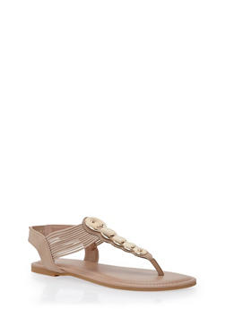 Thong Sandals with Circular Metallic Accents - 1112004067870
