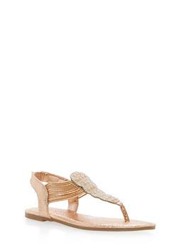 Rhinestone Elastic Thong Sandals - ROSE GOLD CMF - 1112004067872