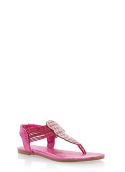 Rhinestone Elastic Thong Sandals - FUCHSIA CMF - 1112004067872