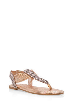 Shimmer Strap Thong Sandals - BLUSH GLITTER - 1112004067878