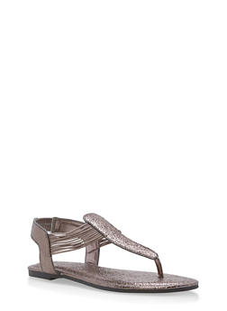 Shimmer Strap Thong Sandals - PEWTER CMF - 1112004067878